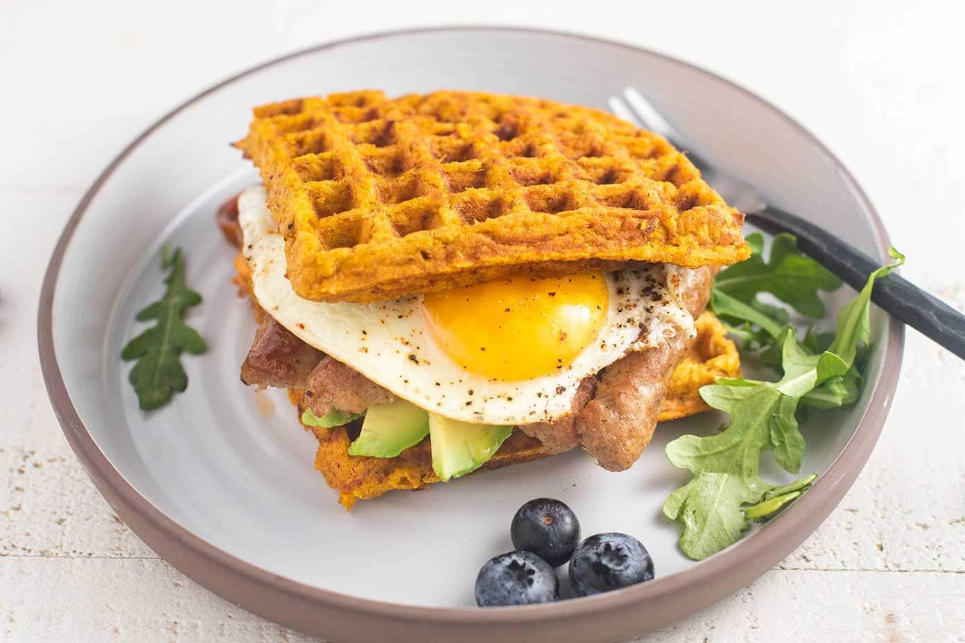 Sweet Potato Waffle Breakfast Sandwich - Sunkissed Kitchen