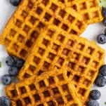 A close up look at the texture of healthy sweet potato waffles.