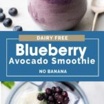 An image showing the ingredients for this smoothie in a blender, and the blueberry smoothie poured into a glass.