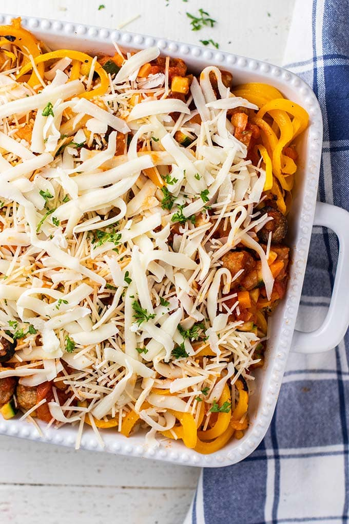A close up at the layers in a butternut baked spaghetti casserole.