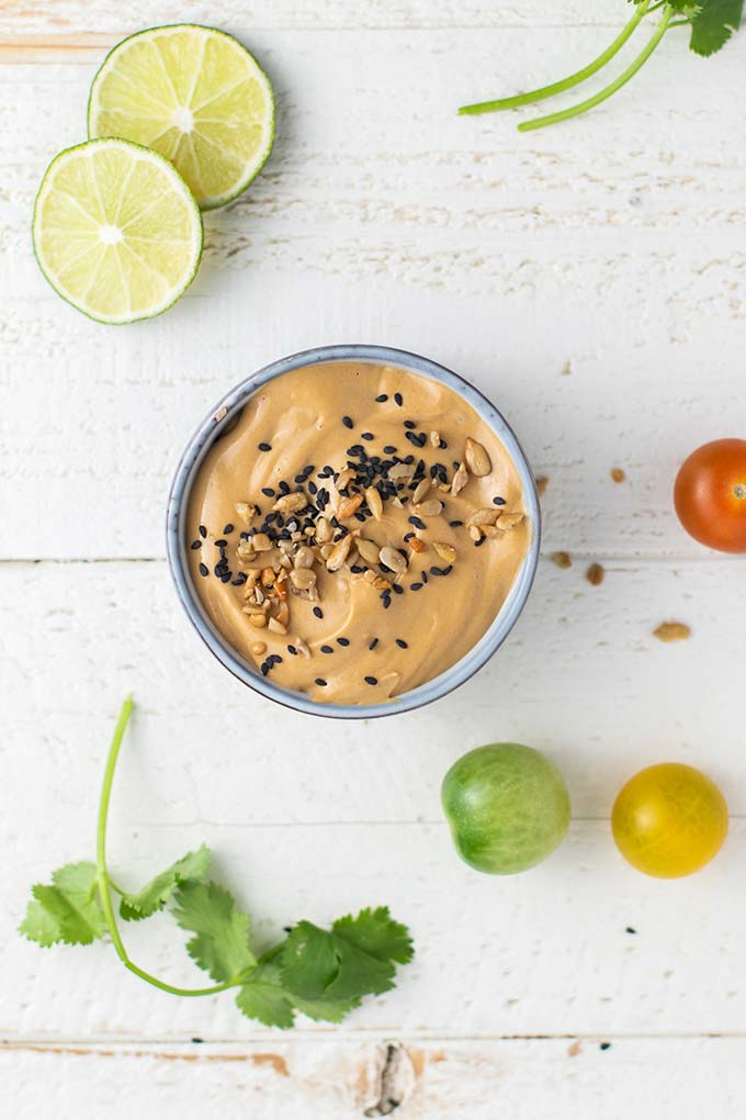 A creamy sunflower butter Thai style dipping sauce.