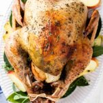 A roasted turkey on a platter with sage leaves and apples.