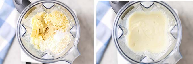 Two images showing the ingredients for the cheese sauce in a blender, and the blender with a creamy smooth sauce inside.