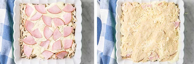 Showing how to layer the casserole with ham and breadcrumbs.