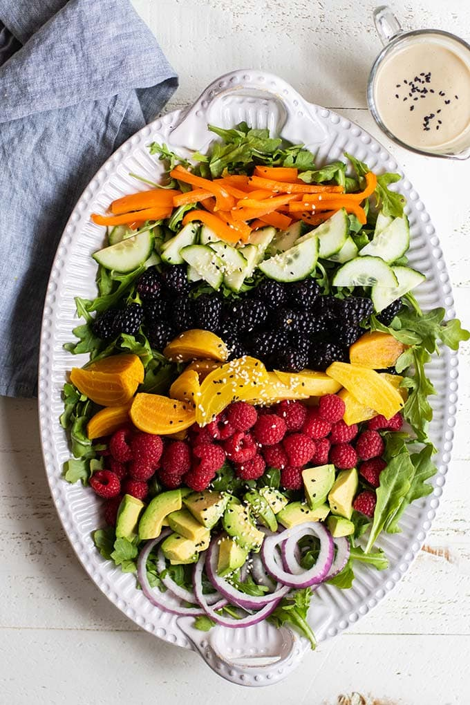 A platter showing the ingredients for this healthy vibrant spring salad.
