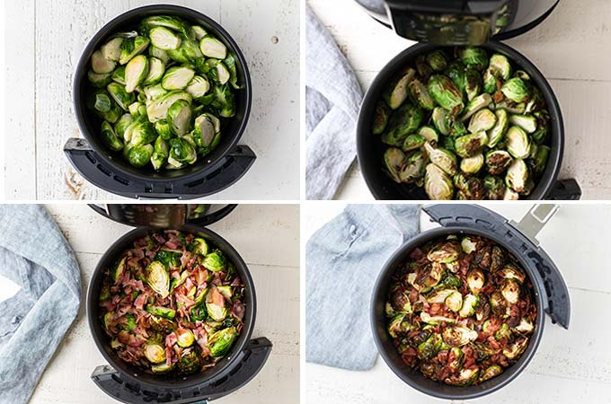 4 images showing the process of cooking the brussels sprouts and adding the bacon to this recipe.