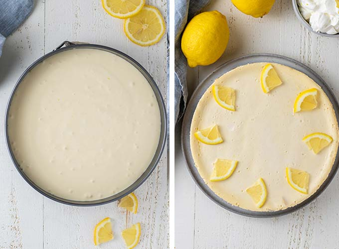 Two images showing pouring the cheesecake batter into the pan and a cheesecake baked and chilled.