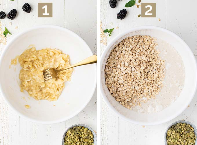 Two images showing steps 1 and 3 of the process, mashing the banana and mixing the wet ingredients with the oatmeal.