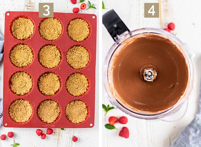 Two images showing how to press the crust into the pan and make the cheesecake batter in a food processor.