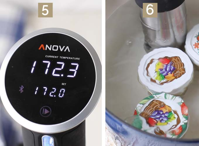 Steps 5 and 6, showing how to set the sous vide and then add the jars into the water with the machine.