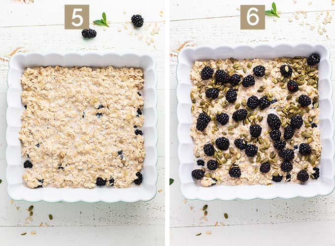 Two images that show steps 5 and 6, layering the oatmeal mixture and blackberries in the pan.