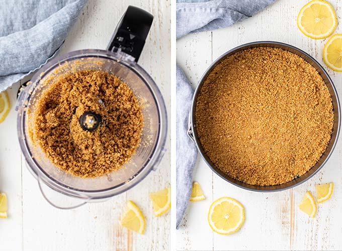 Two images showing how to make the graham cracker crust and how to press it into the pan.