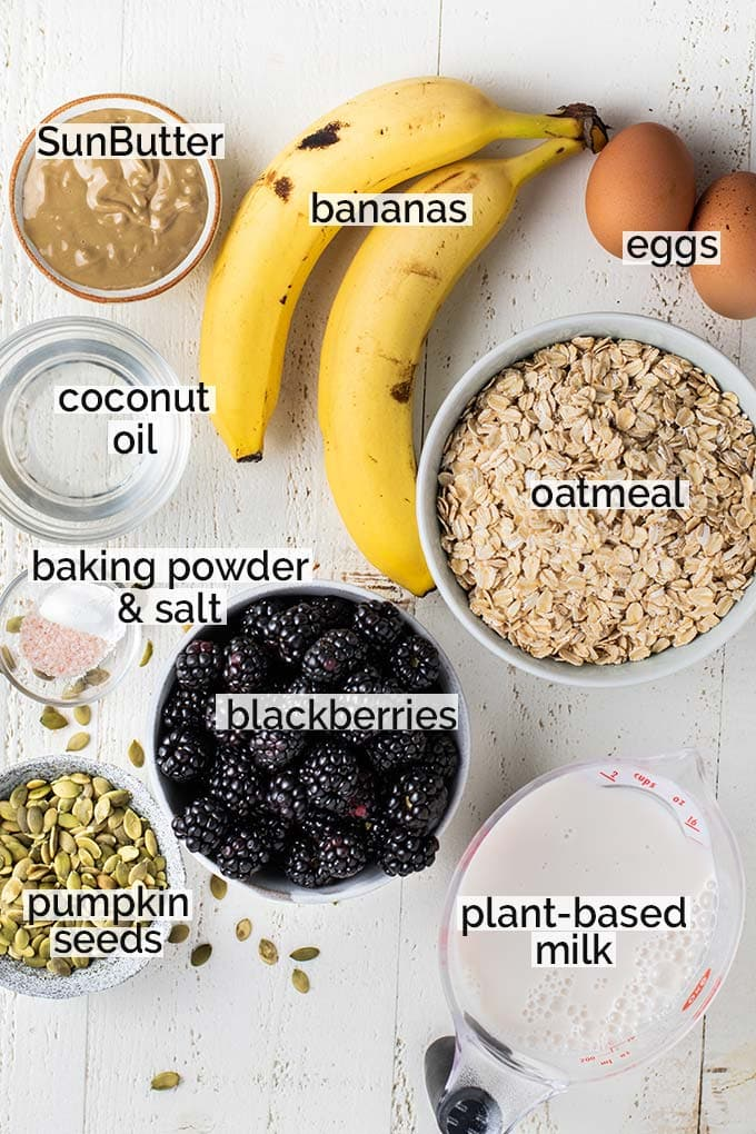The ingredients in this baked oatmeal recipe labeled and shown ready to put together.