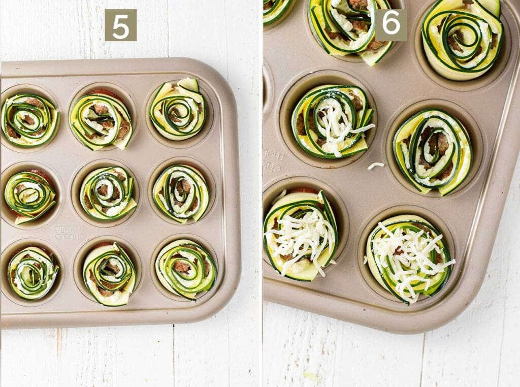 Two images showing adding the zucchini roll ups to a muffin tin, and topping them with extra parmesan cheese.