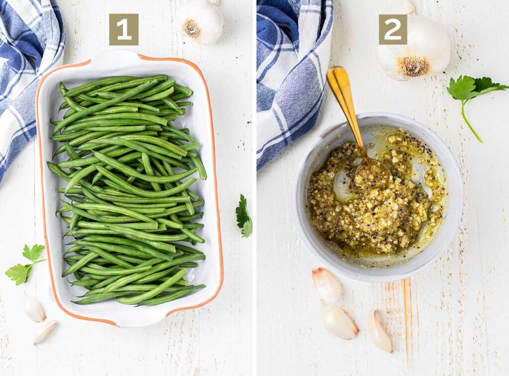 Two photos showing how to prepare the green beans in a baking dish and mix up the sauce ingredients.