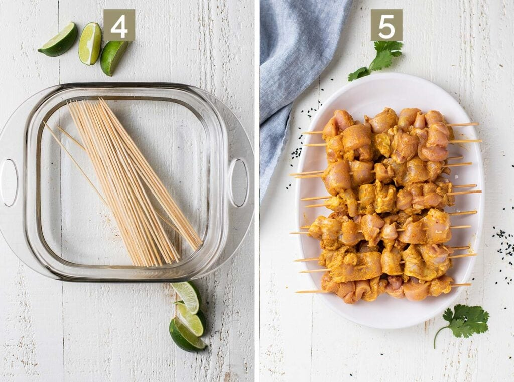 Two images showing how to soak the bamboo skewers, and then weave the chicken onto the skewers.