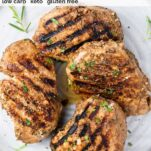 A top down look at 4 grilled pork chops marinated in a balsamic dijon mixture.