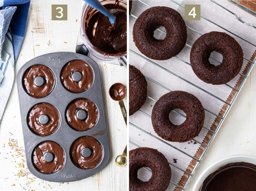 Showing how to add the chocolate batter to a donut pan.