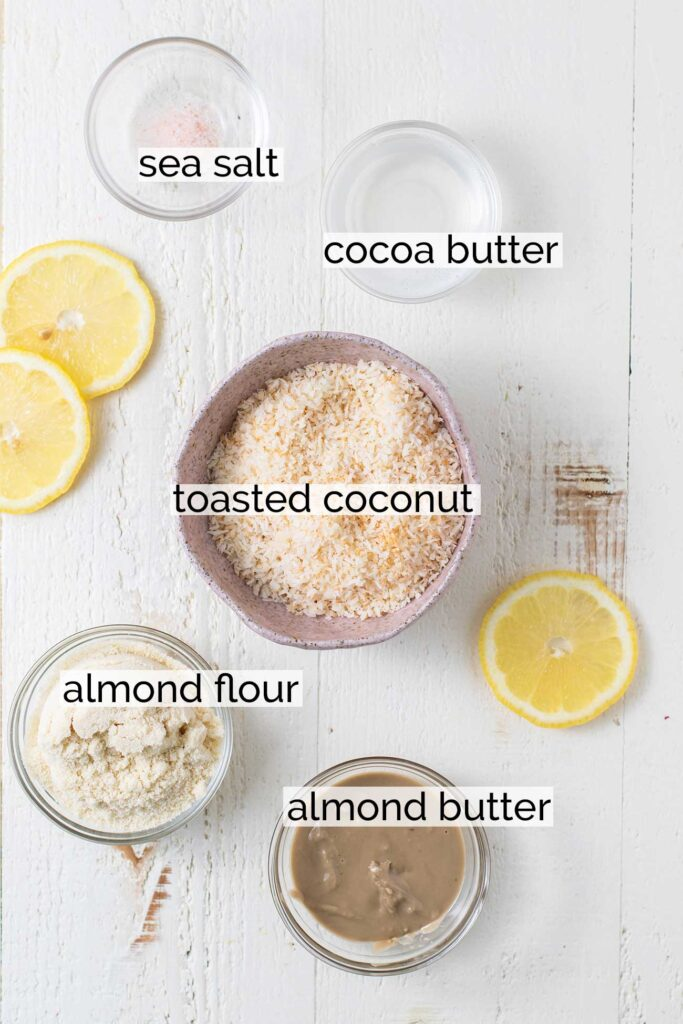 The ingredients for the no bake coconut crust.
