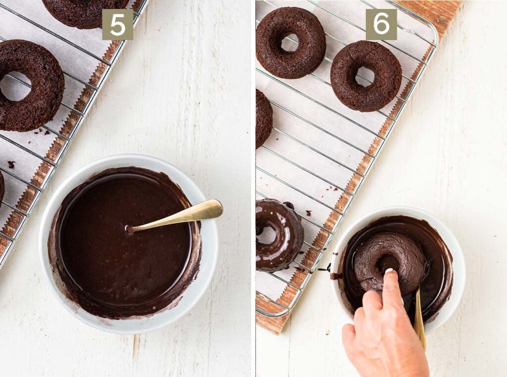 Showing how to mix the glaze and dip the tops of the donuts in it.