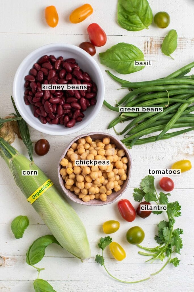 The ingredients in the 3 bean salad shown labeled.