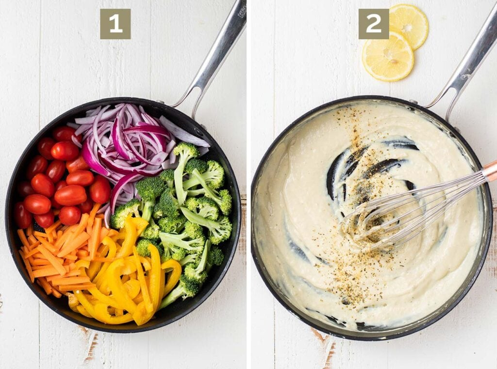Step 1, showing how to saute the veggies, and step 2, making the creamy sauce.
