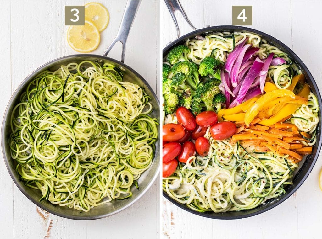 Step 3 is to add the zoodles to the creamy sauce, and step 4 is to add back in the sauted vegetables.