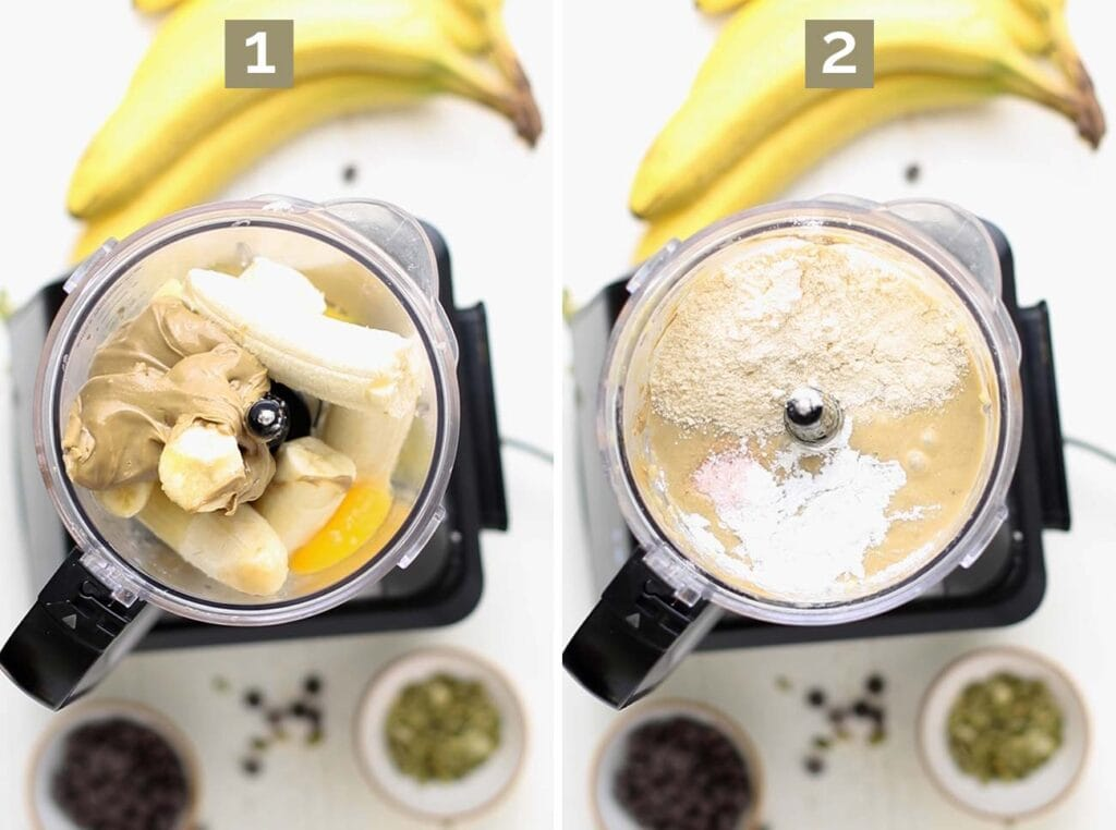 Showing how to add the ingredients to a blender or food processor to make the batter.