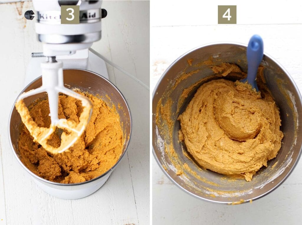 Images showing how to add the rest of the wet ingredients to the mixer, and then add the dry ingredients and mix into an orange cookie dough.