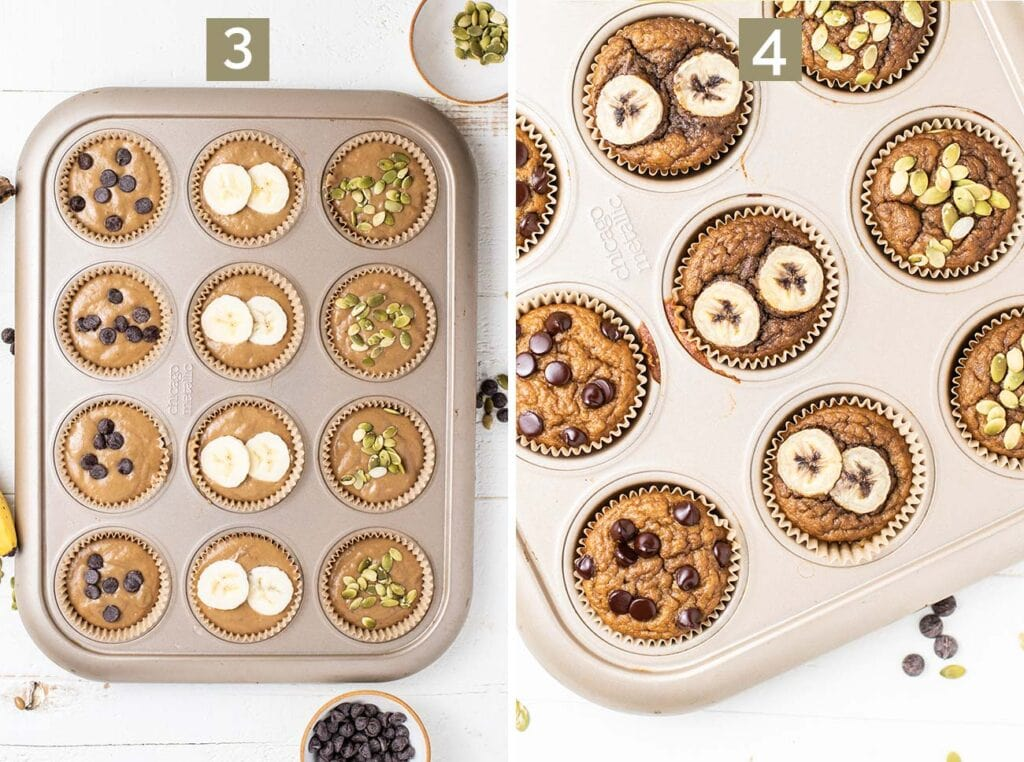 2 images showing how to fill the muffin tin with the batter and top the muffins with optional chocolate chips and pumpkin seeds.