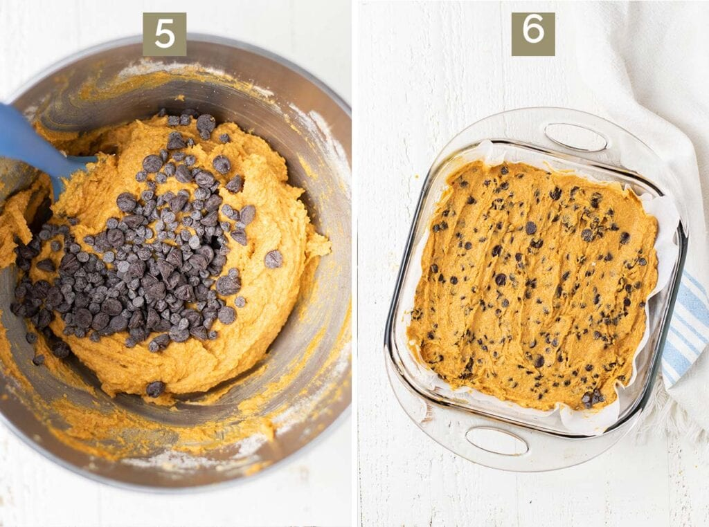 Two photos showing to mix in the chocolate chips and then press the cookie dough into a square baking dish.