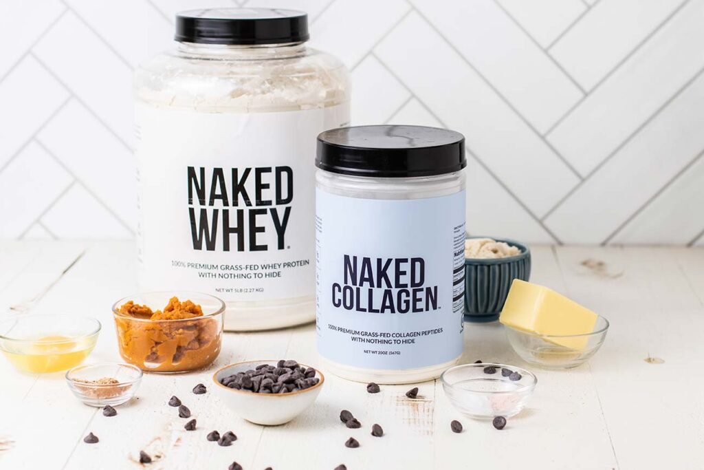 A bar of Naked Whey and Naked Collagen protein powders.