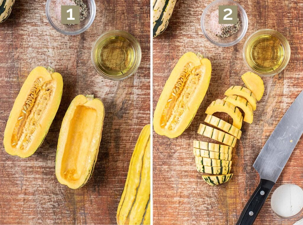 Photos the illustrate how to cut the squash, remove the seeds, and slice the squash in half inch sections.