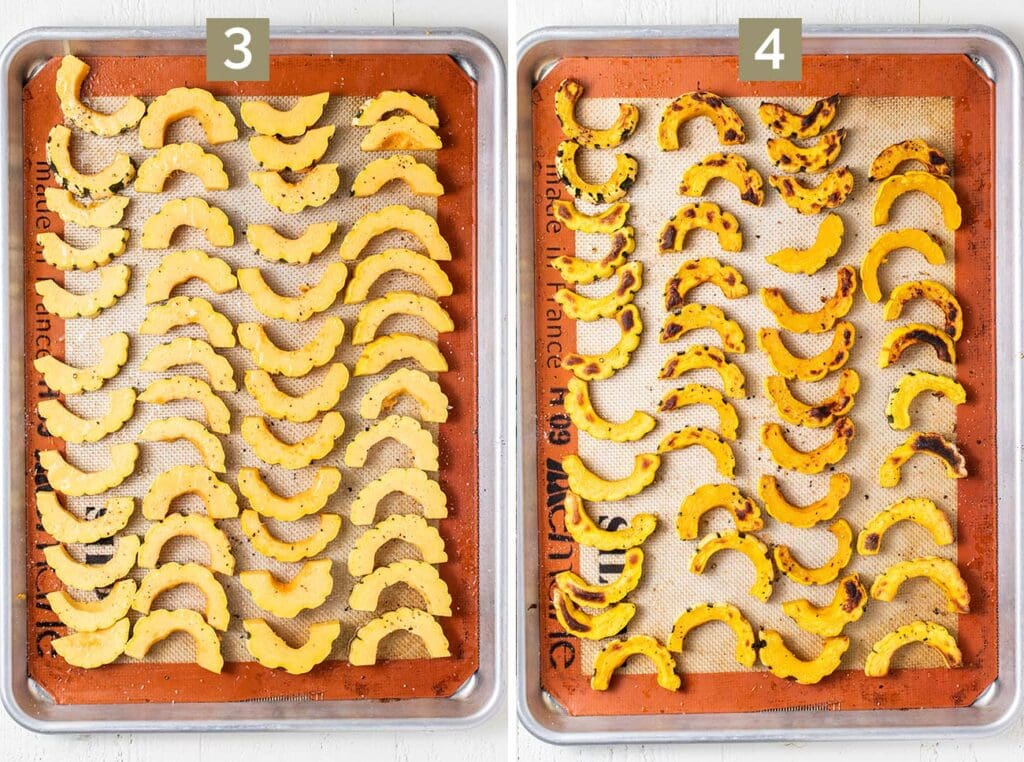 Two baking trays showing raw squash drizzled with avocado oil and seasoned with salt and pepper, and then showing the squash roasted.