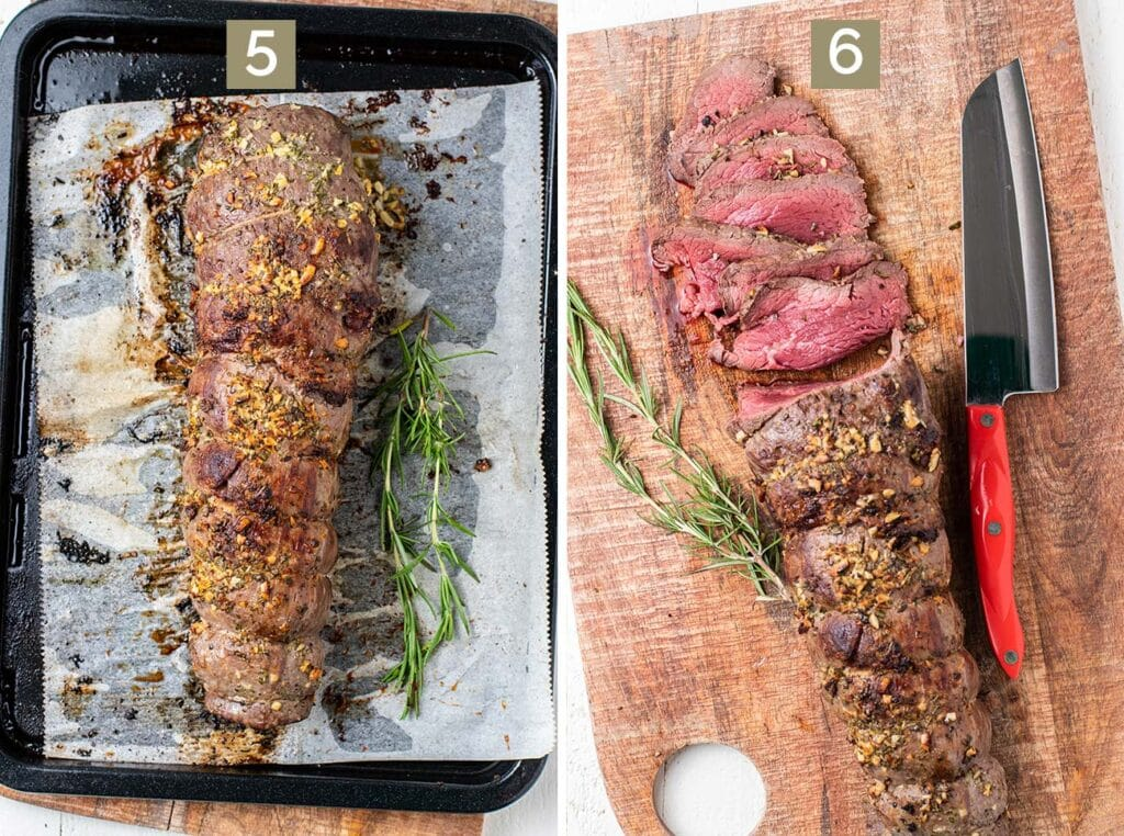 Step 5 is to let the roast rest after it's baked before slicing, and step 6 shows the roast cut into very thin slices.