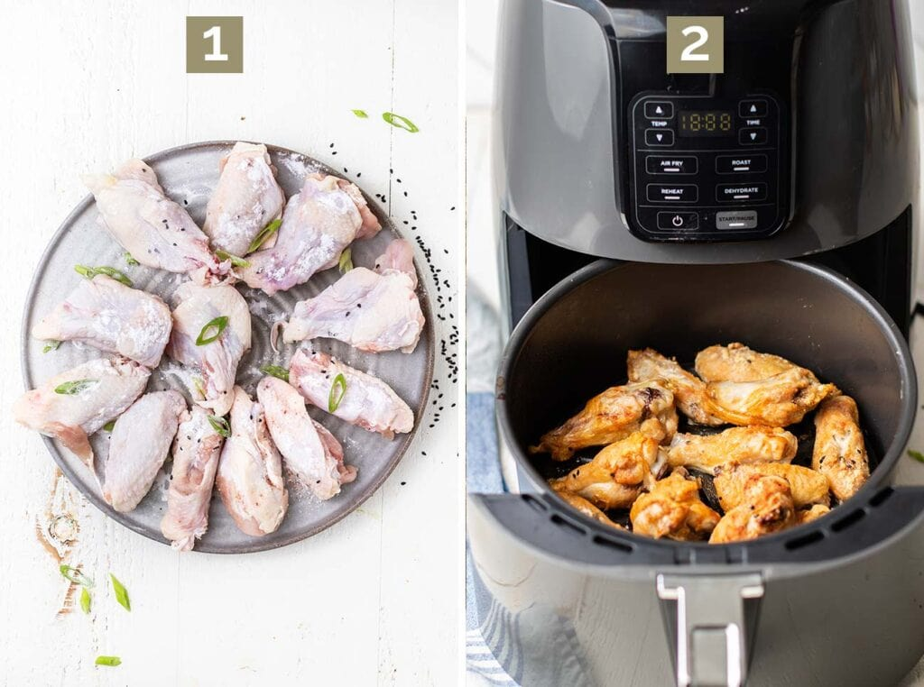 Step one is to coat the chicken wings with baking powder, and step two is to add the wings to an air fryer.
