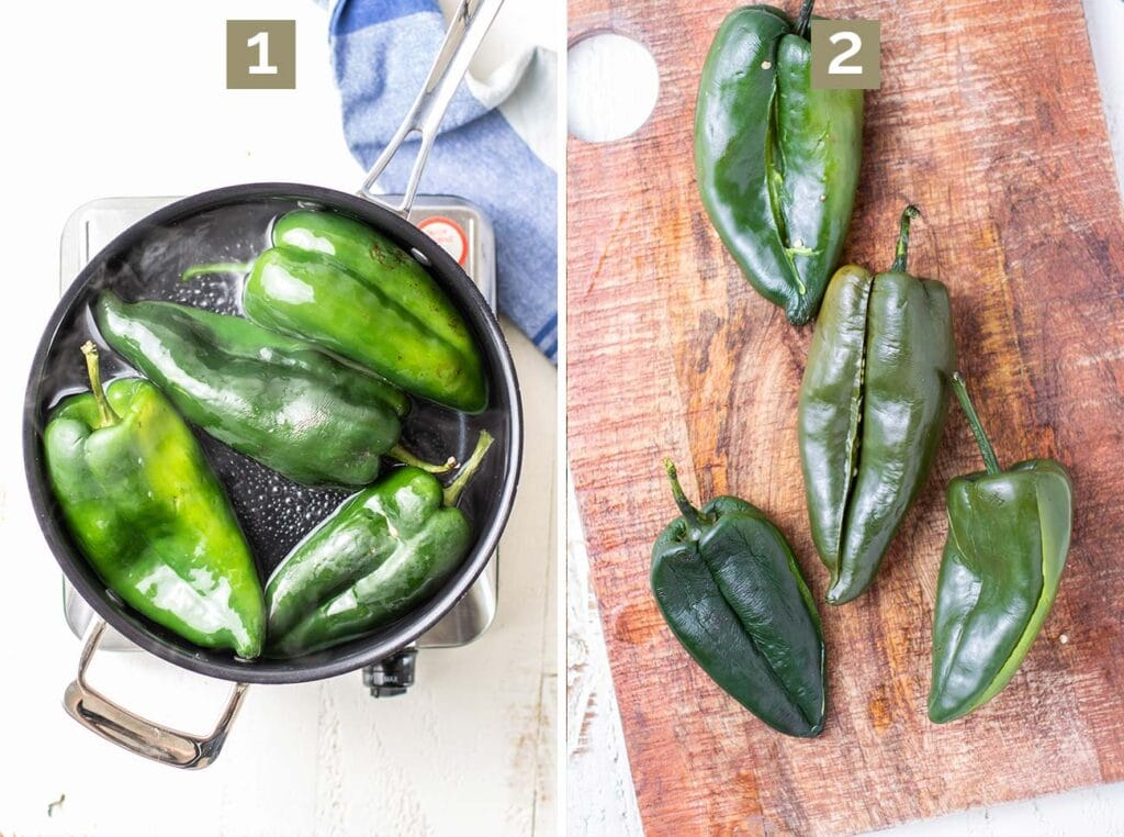 Step 1 is to blanch the chiles and step 2 is to slice the chiles and remove the seeds.