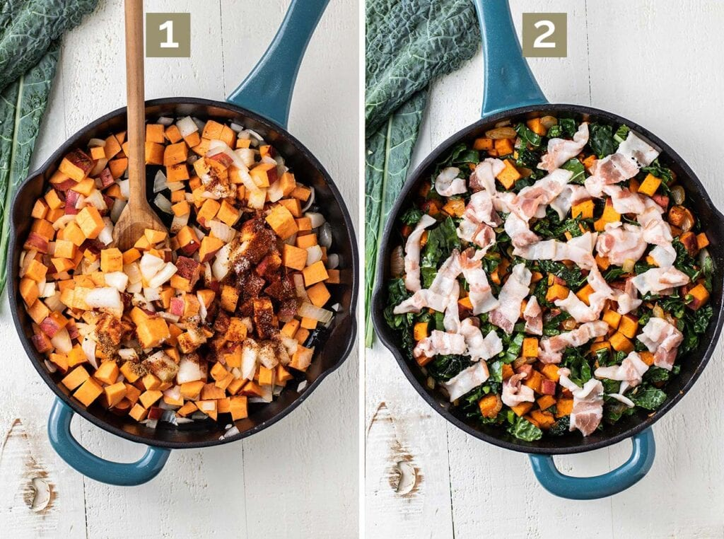 Step 1 shows to mix the sweet potatoes and the onions in the skillet to bake, and then step 2 shows adding the kale and bacon to bake.