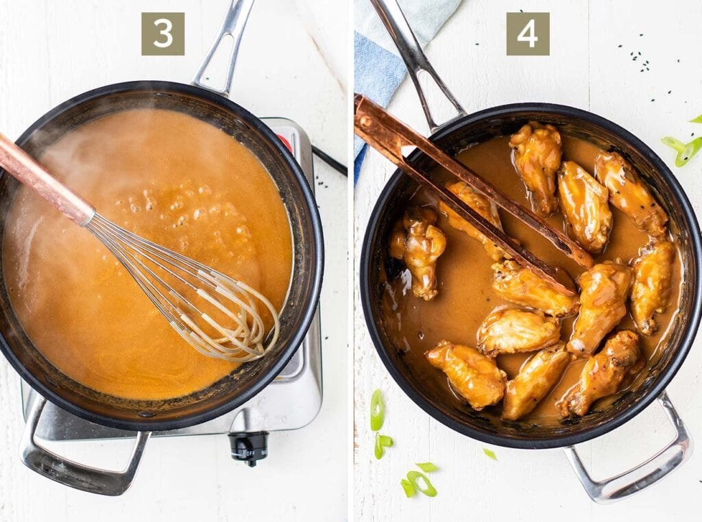 Step 3 is to make the Asian wing sauce, and step 4 is to toss the wings in the sauce.