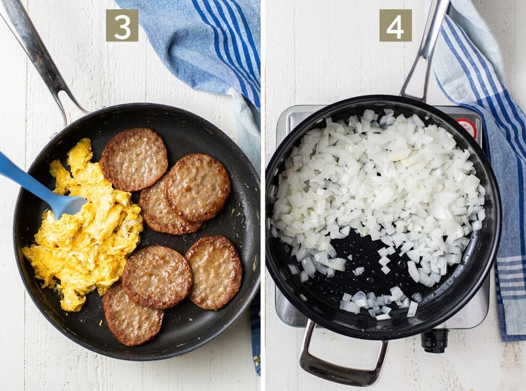 Step 3 is to cook the eggs and sausage, and step 4 is to soften the onions for the sauce.