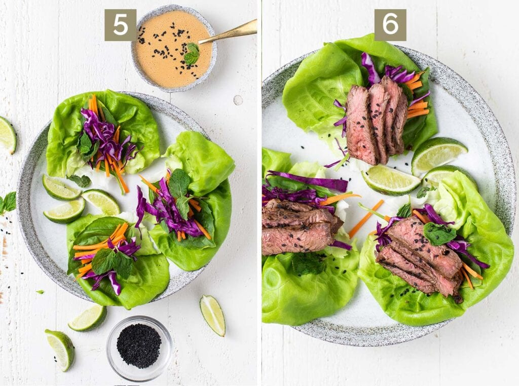 Step 5 shows adding the veggies to leaves of lettuce, and step 6 shows adding the thinly sliced steak and topping with sesame seeds.