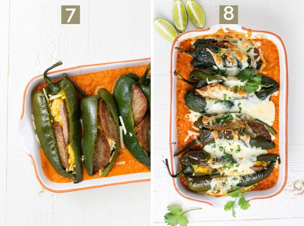 Step 7 is to stuff the chiles and put them in a dish with the relleno sauce, and step 8 is to bake the rellenos.