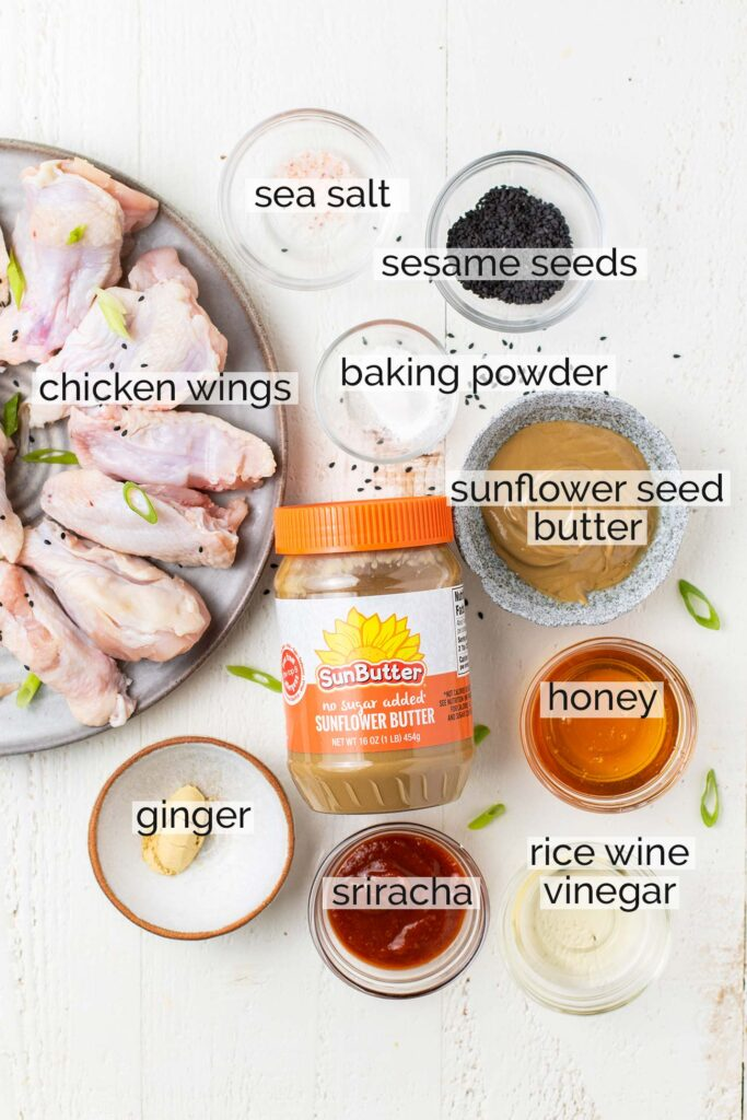 The ingredients needed for air fryer chicken wings plus the sweet and tangy Asian sauce.