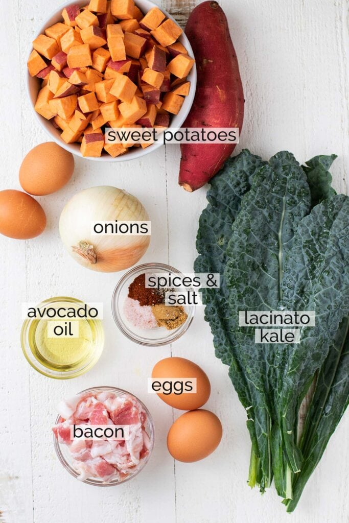 The ingredients needed to prepare a sweet potato breakfast skillet.