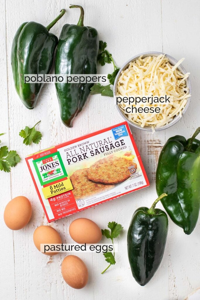 The ingredients needed for chile rellenos shown labeled.