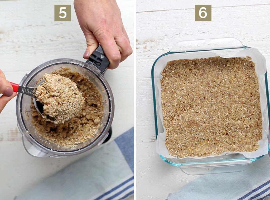 Step 5 shows to reserve some topping, and step 6 shows to press the cookie layer into a pan.