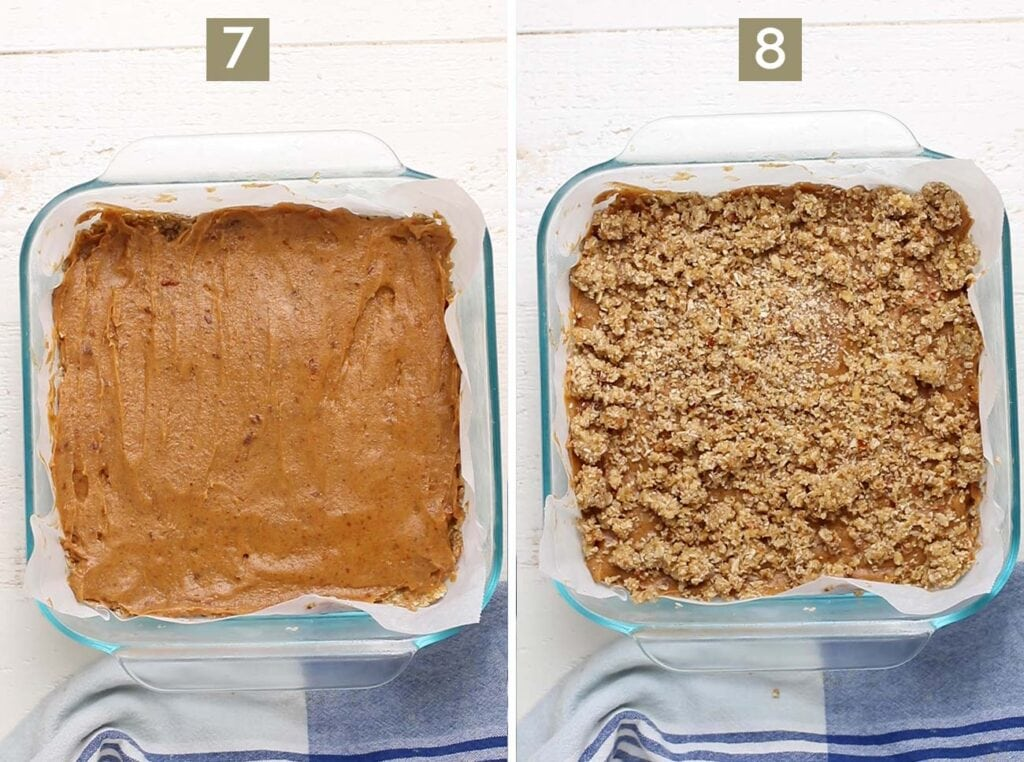 Step 7 shows to smooth the date layer over the cookie layer, and step 8 shows to add the crumble topping.