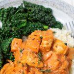 African chicken stew served over cauliflower rice.