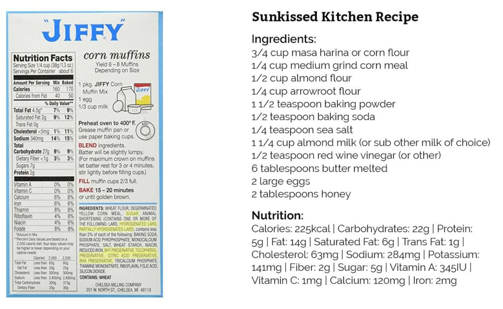A comparison of the ingredients in Jiffy cornbread compared to this healthier recipe.