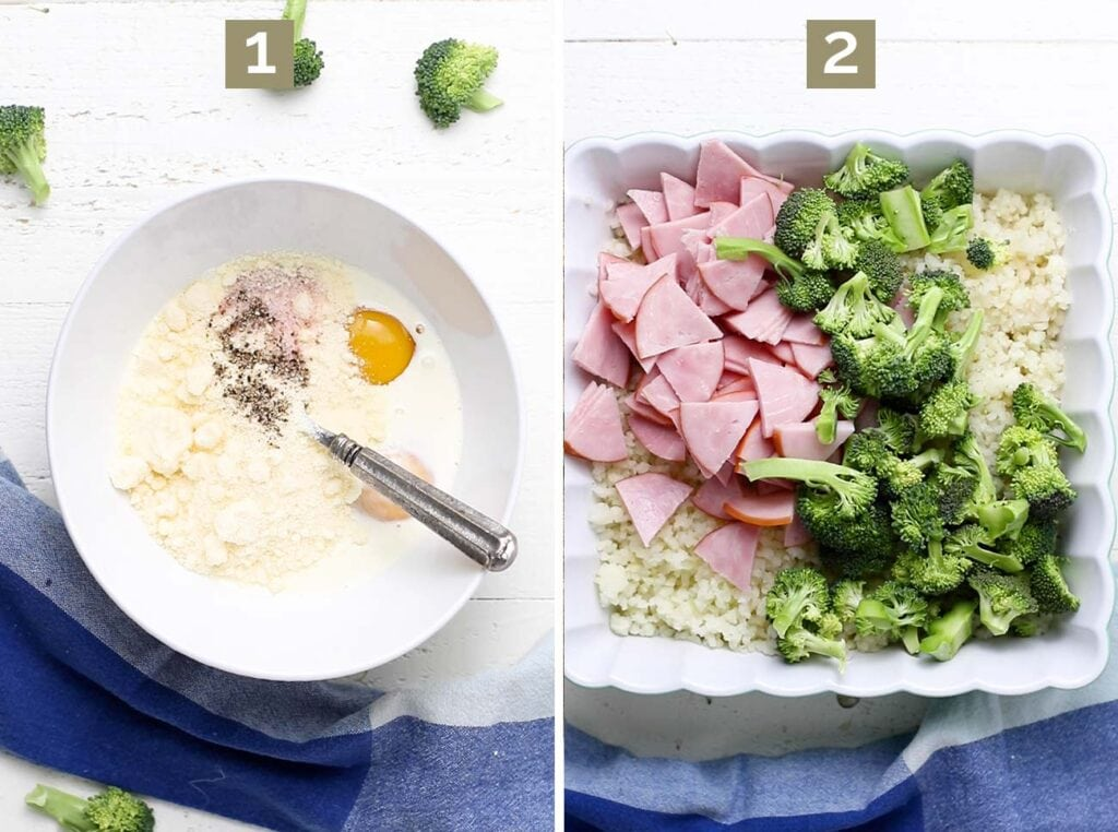 Step 1 shows to mix together the cream sauce, and step 2 shows to add cauliflower rice, broccoli, and ham to the casserole dish.